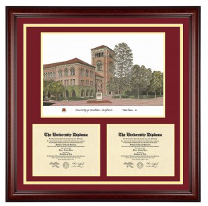 Large Double Diploma with Artwork USC