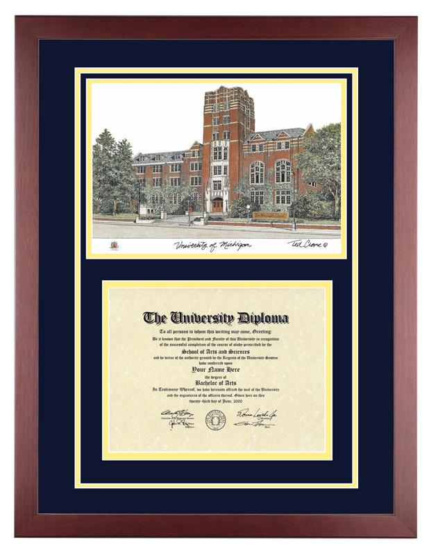 Moderno Marco De Diploma De La Universidad De Michigan Composición ...